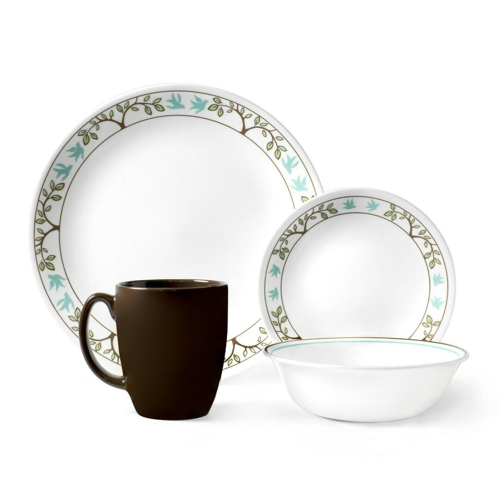Corelle Livingware Tree Bird 16-Pcs Vitrell Glass Dinnerware