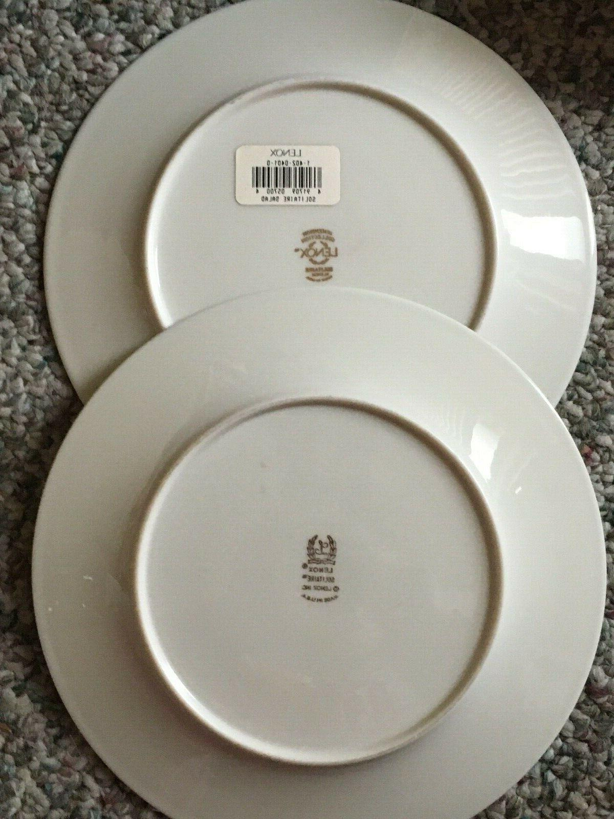 LOT OF Solitaire Platinum-Banded 5-Piece Place Setting