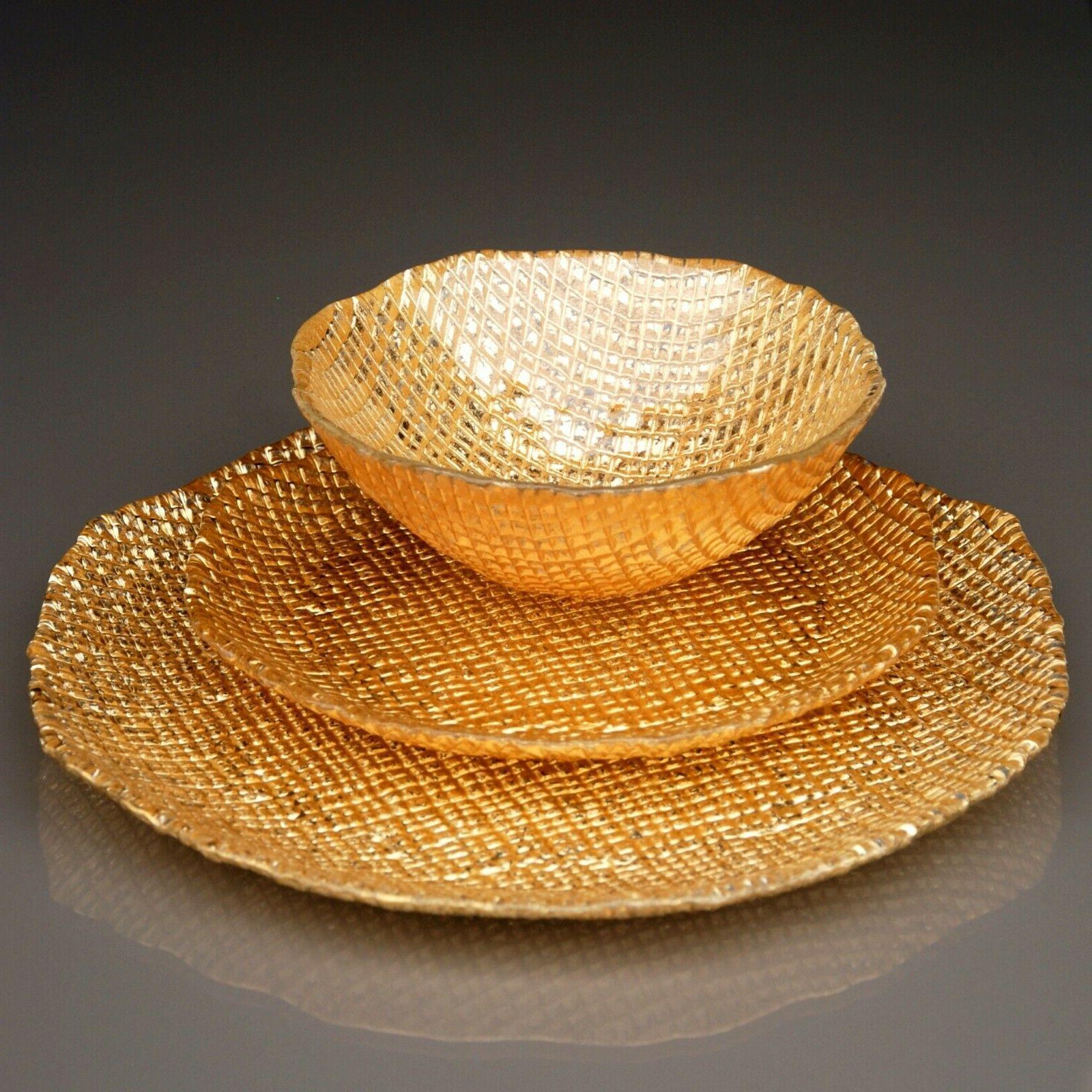 lumiere 12 pcs gold dinnerware set