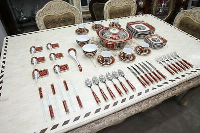 Royalty Porcelain Madonna Antique 75pc Large dinner and Sush