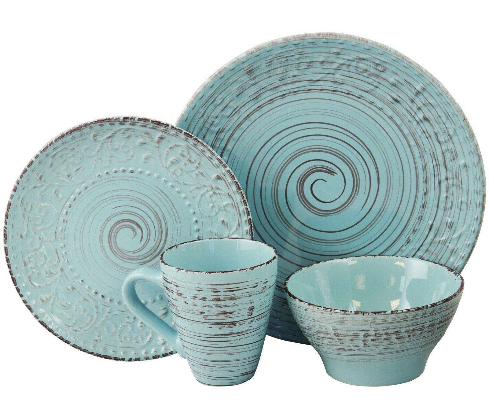 Malibu Set Dinnerware 16 Piece Dishes Plate Turquoise Vintage Service