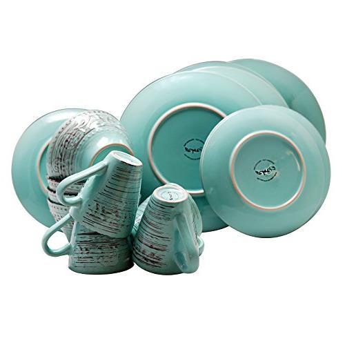 Elama ELM 16-Piece Dinnerware Turquoise, 16pc