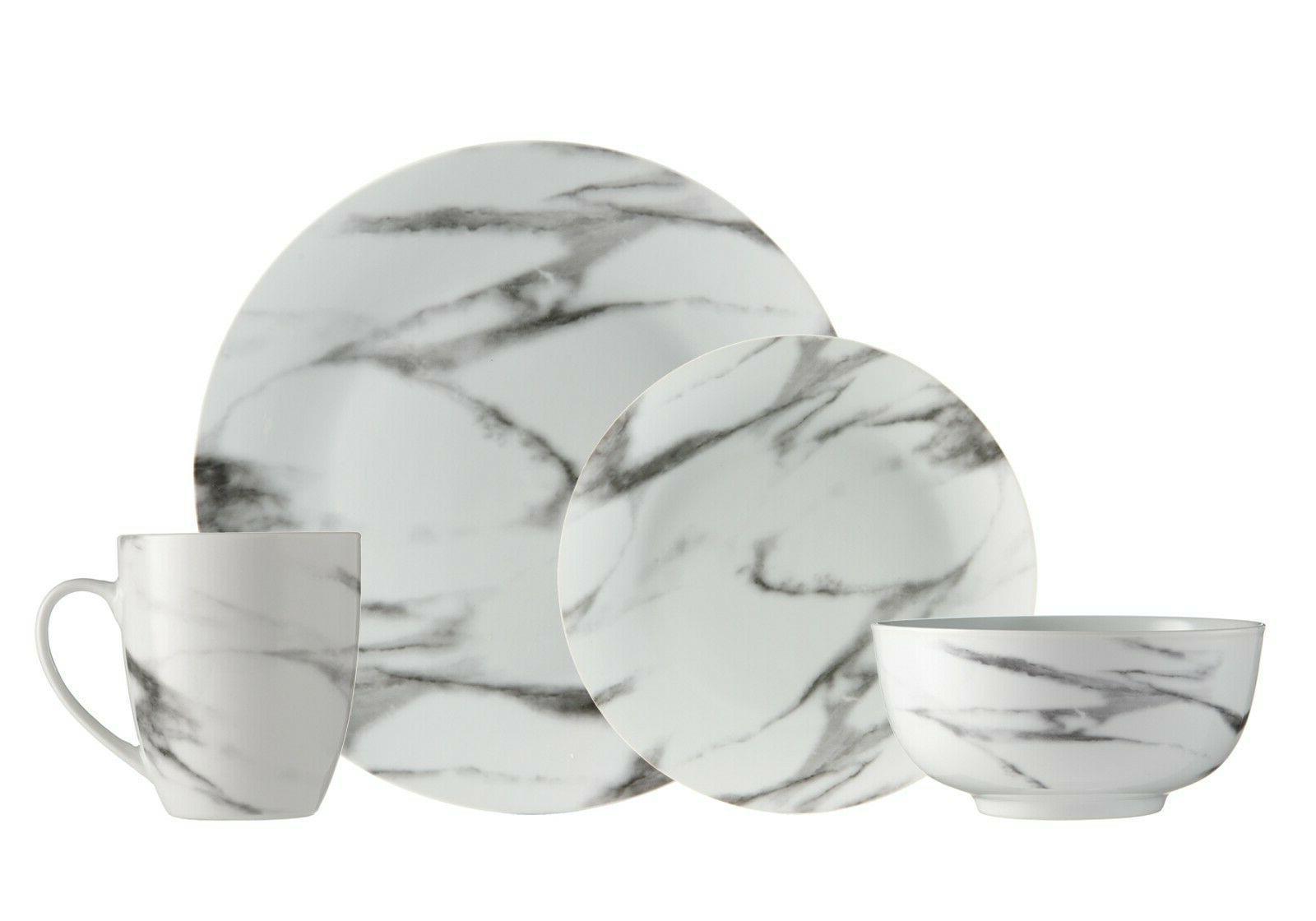 Dinnerware Set Marble 16-Piece for 4-Dish Set-Dinner Set Por
