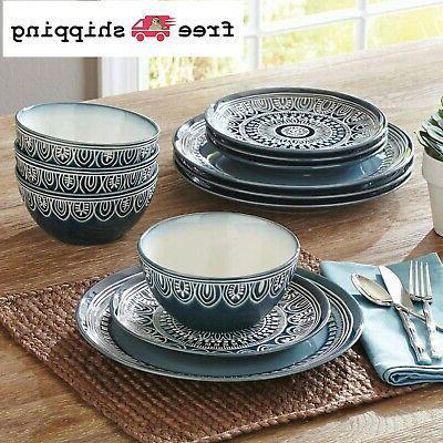 medallion dinnerware set teal plates