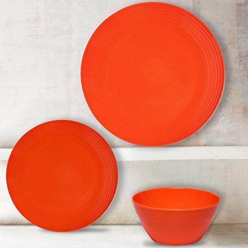 Melange 12-Piece Melamine Set Chip-Resistant Plates and Bowls | | Dinner Plate