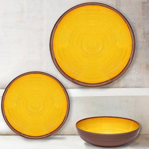 Melange 100% Dinner Shatter-Proof and Melamine Dinner Yellow