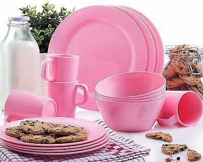 Francois et Mimi 16 Piece Melamine Dinnerware Set Pink