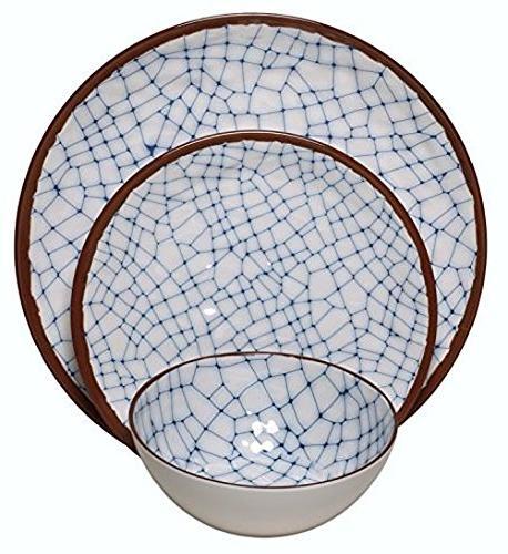 Melange Melange 36-Piece 100% Set Shatter-Proof and Blue, Dinner Plate & Soup