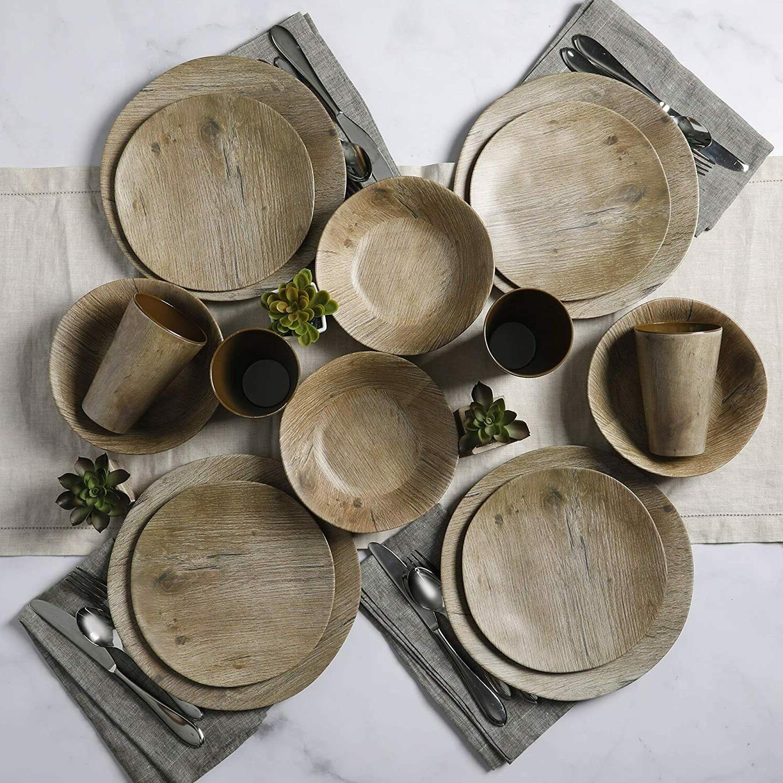 Gibson Home Woodlands Round Melamine Dinnerware Set, for Fou