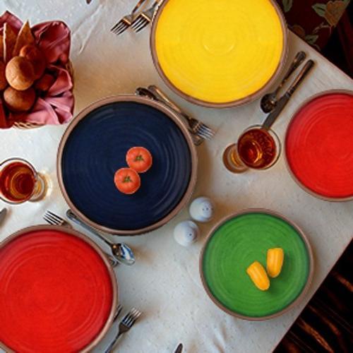 Melange 6-Piece Dinner Plate Set Shatter-Proof Dinner   Yellow