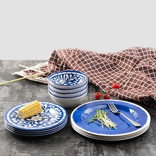 Melamine Dinnerware 12 Set for Outdoor Dishwasher Lightweight Blue