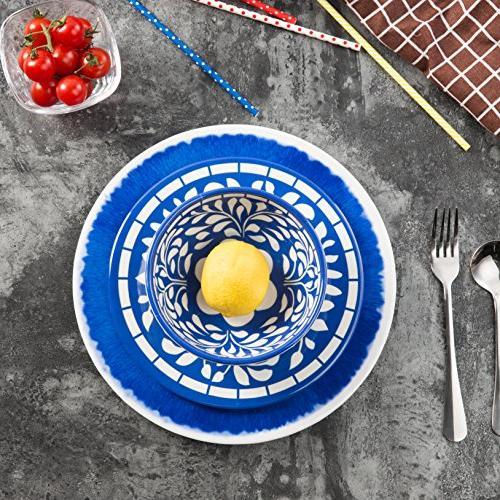 Melamine 12 Pcs Dinner Set for Outdoor Dishwasher Unbreakable, Blue