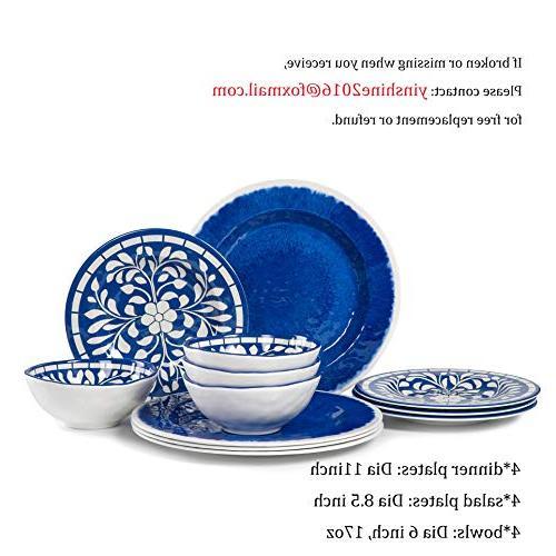 Melamine 12 Set Outdoor Dishwasher Safe, Lightweight Blue