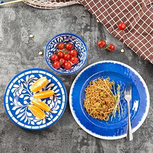 Melamine Dinnerware Set for Dishwasher Safe, Lightweight Unbreakable, Blue