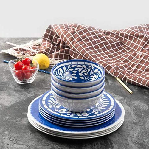 Melamine 12 Pcs Set Outdoor Dishwasher Blue