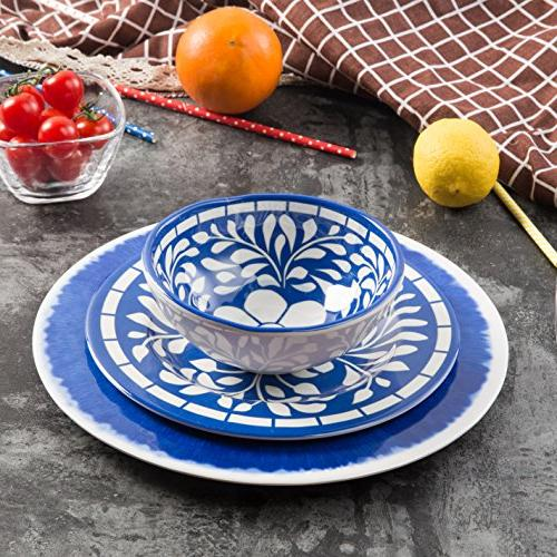 Melamine Dinnerware 12 Pcs Dinner Set for Use, Dishwasher Safe, Blue