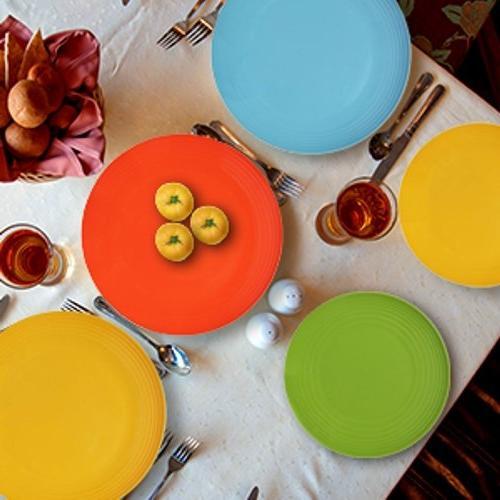 Melange 12-Piece Set | Chip-Resistant Melamine Bowls Orange | Dinner Salad Plate Soup