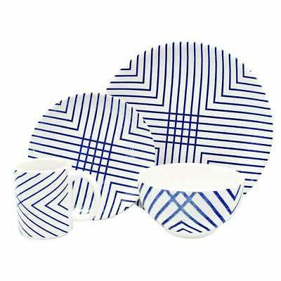 Melange Porcelain 36-Piece Dinnerware Set  | Blue