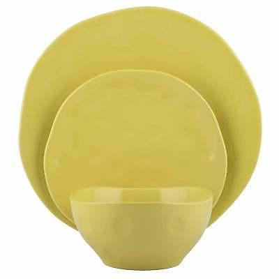 Melange Stoneware 18-Piece Irregular Shape Dinnerware Set Ye