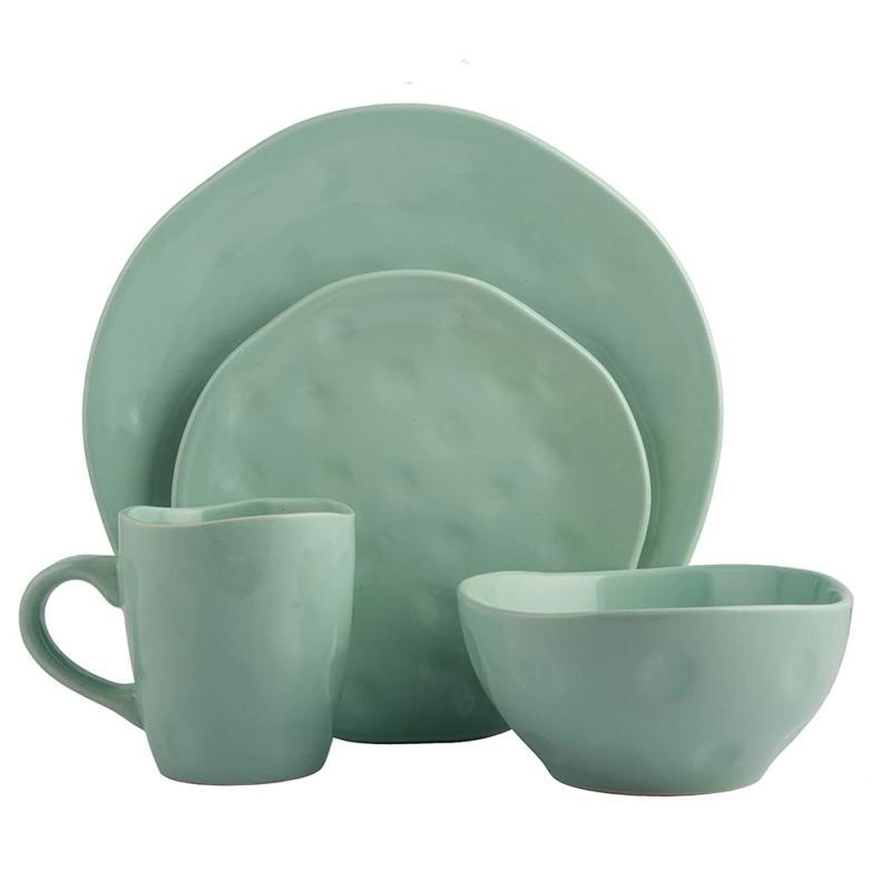 Melange Stoneware 32-Piece Irregular Shape Dinnerware Set   