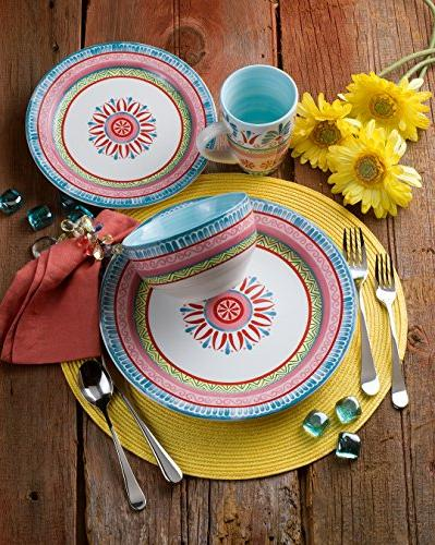 Euro Ceramica Merille Collection 16 Ceramic Dinnerware Set, Spring Medallion