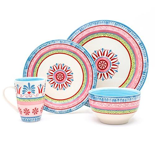 Euro Ceramica Merille Collection 16 Set, Service for Spring Medallion Design, Multicolor