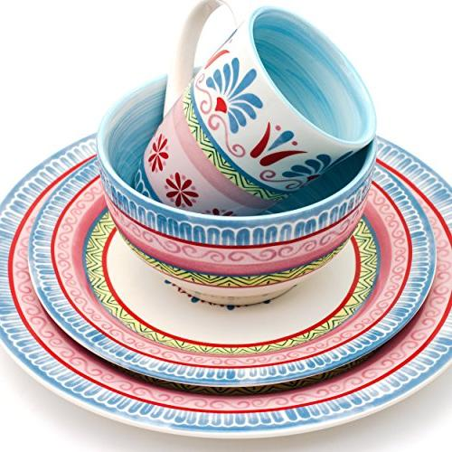 Euro Ceramica Merille 16 Set, Service for 4, Spring Medallion Design,