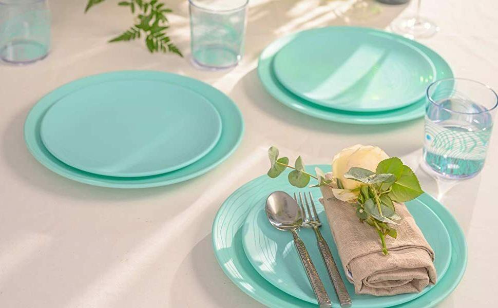 Mint Blue Lightweight 12 Plates &