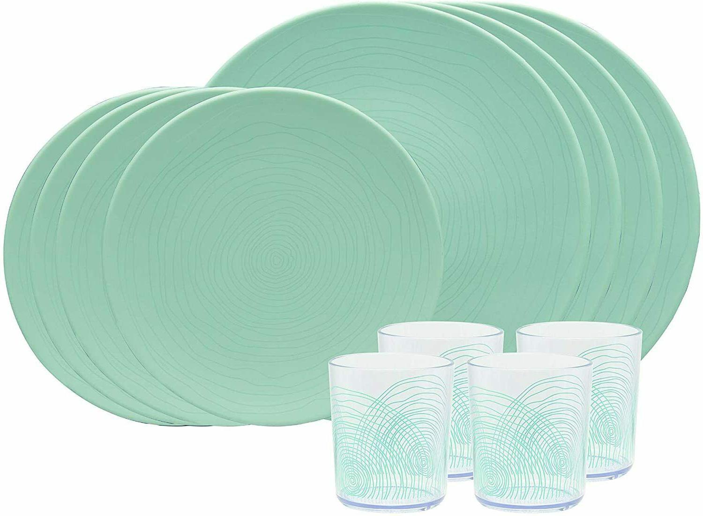 mint blue melamine lightweight 12 pc dinnerware