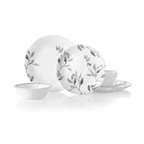 misty leaves 12 piece dinnerware set round