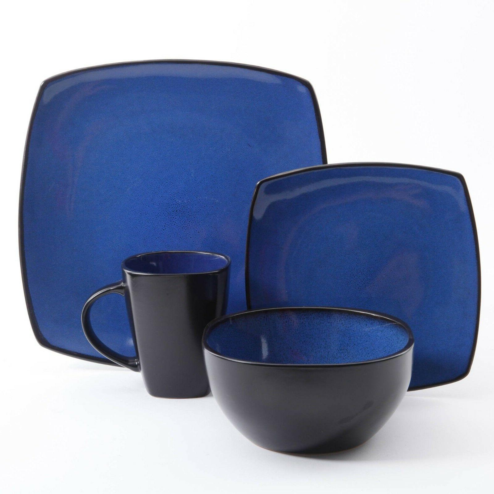 Modern Dinnerware Dish Set For 4 Square Kitchen Stoneware Pl