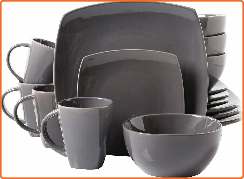 Modern 16 Piece Square Bowls Stoneware Dish