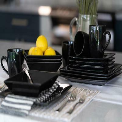 Modern Dinnerware Set Piece Square Dinner Bowls Kitchen Stoneware