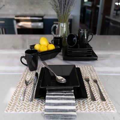 Modern Piece Square Dinner Plates Bowls Kitchen Stoneware Dish