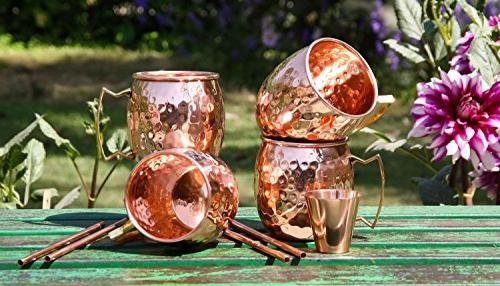 Moscow Copper Mugs - Set HANDCRAFTED Food Safe Pure Solid Copper 16oz Gift BONUS: Straws, and Recipe Booklet! Copper Mug