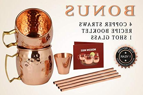 Moscow Mule - HANDCRAFTED Pure Solid Copper - 16oz Gift BONUS: Cocktail Copper Straws, 1 and Recipe Copper