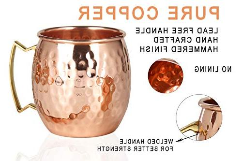 Moscow Mule Copper - Set of HANDCRAFTED Food Safe Solid Copper 16oz Gift BONUS: 4 Copper Straws, 1 Shot and Copper