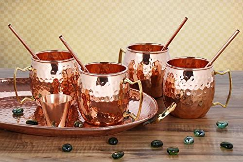 Moscow - of HANDCRAFTED Safe Solid Copper 16oz Set BONUS: 4 Cocktail Copper Straws, Glass and Booklet! Copper