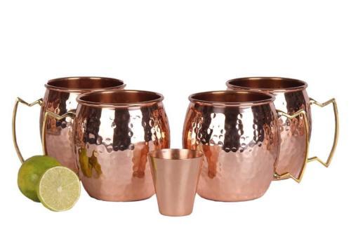 Moscow Mugs - Set of HANDCRAFTED Food Safe Solid - 16oz Gift Set BONUS: Cocktail Copper Straws, Shot and Recipe Copper Mug