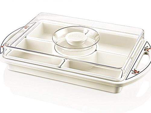 multi sectional snack serving tray with