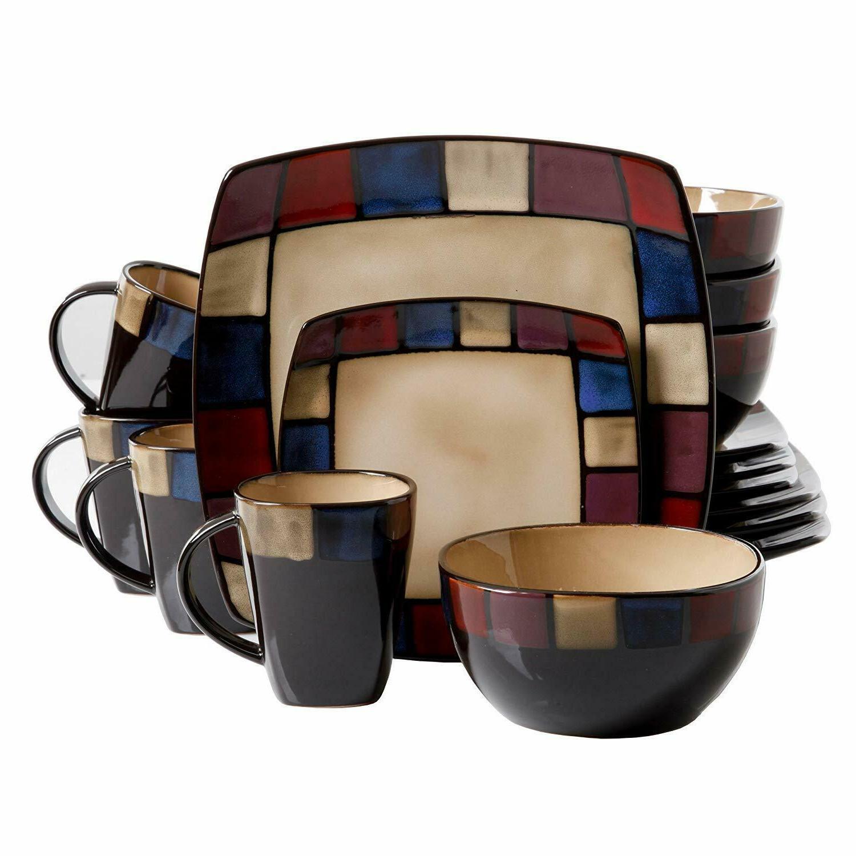 Modern Square Dinnerware 16 Bowls Stoneware Dish
