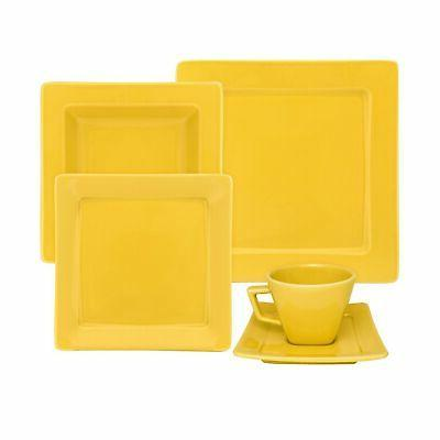 nara yellow 20 piece porcelain dinnerware set
