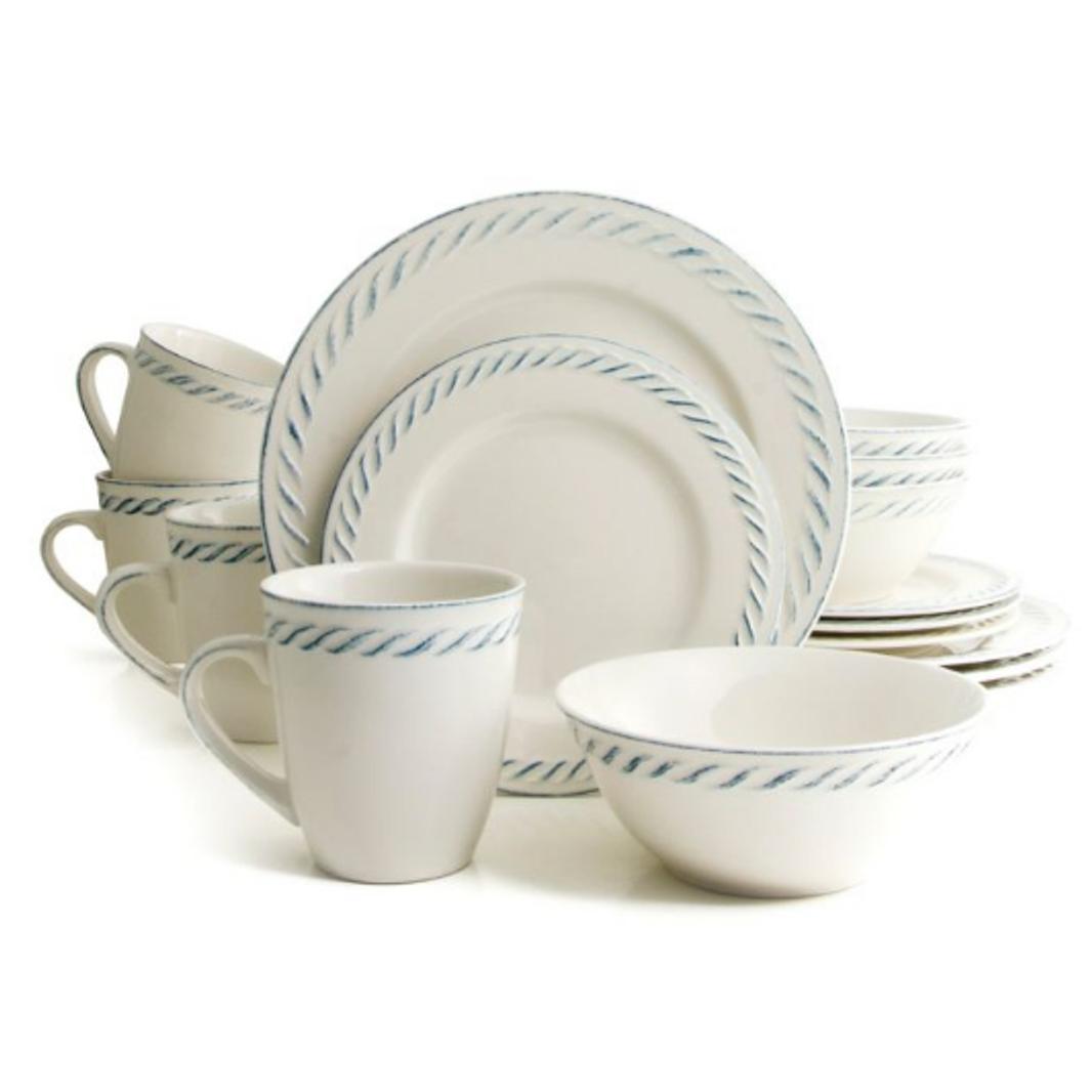 Nautical Dutch 16-Piece Dinnerware Set - White, Stoneware -