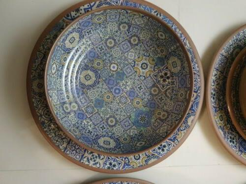 new 12 piece melamine dinnerware set blue