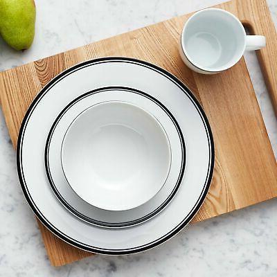 Stripe Dinnerware for 4 - Black