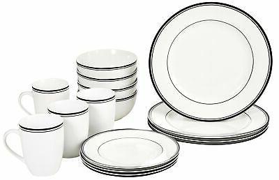 new 16 piece cafe stripe dinnerware set