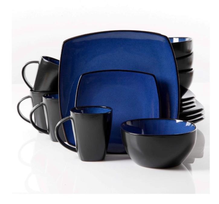 new blue 16 piece dinnerware set plates