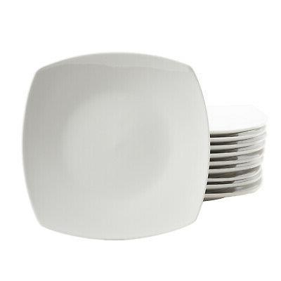 Dinnerware Plates Mug Kitchen Dinner Stoneware Square Ceramic White