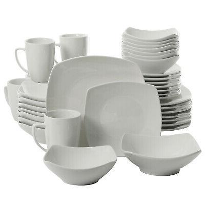 12-Piece Square Dinnerware Set Dinner Dessert Ceramic