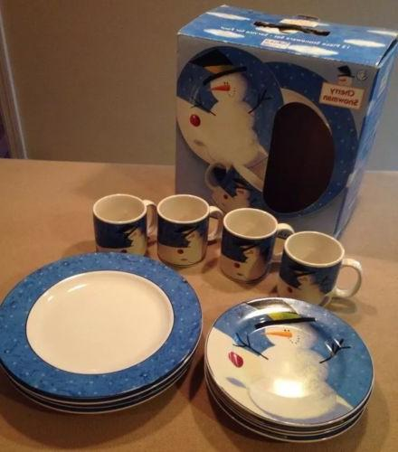 nib sakura cherry snowman dinnerware set 12pc